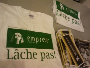 empress centre t-shirts and pamphlets