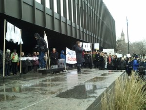 women's groups gathered for Dec. 6 protest at Montreal courthouse