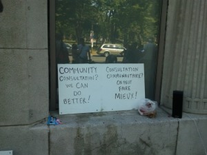 Protest sign sits in Empress building window