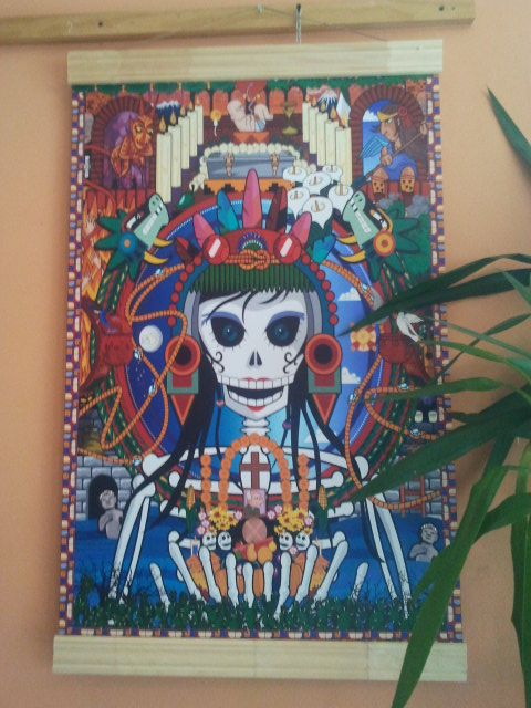 colourful skeleton Dia de los Muertos poster on wall at Cafe 92 degrees (2012)