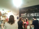 Le Milieu co-founder Rachel Chainey chats with people at launch party
