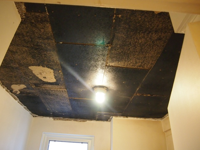 unfinished kitchen ceiling with exposed light bulb
