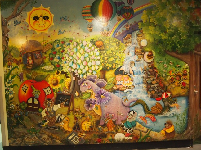 A storybook-themed mural at the old Montreal Children's