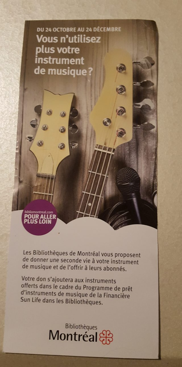 city of montreal musical instrument donation drive flyer